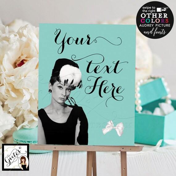 """Custom Audrey Hepburn Welcome Signs For Birthdays/ Bridal Shower/ Graduation/ Any Event! Digital File Only. 8x10"""""""