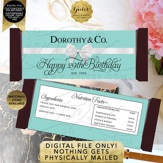 29th Candy Bar Wrappers Birthday | Personalized Party Favors Breakfast Customizable Text/ Colors & Fonts 2 Per Sheet 5.25x5.75{Satin Ribbon}