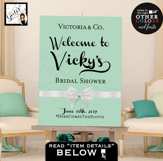 Mint Green Welcome Bridal Shower Digital Countdown Poster