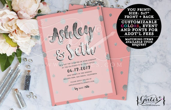 Coral and Silver Wedding Invitation | Modern Summer/Spring Designs