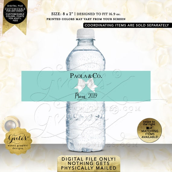 Prom & Co Water Bottle Labels Personalized / Breakfast Themed Party Favors / JPG + PDF