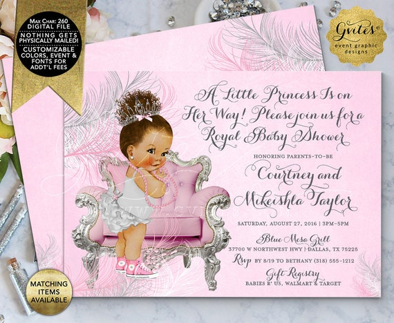 Pink Silver Baby Shower Invitation Afro Bun Ethnic Princess Ribbons Bows Diamonds Girl | Digital/ Printable JPG + PDF {Design: TIACH-128}