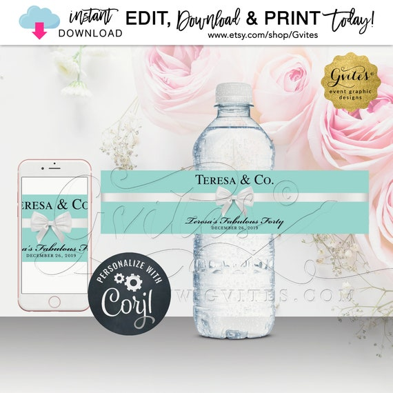 Fabulous Forty Water Bottle Labels | Blue Breakfast Themed | Birthday 40th/50th/60th ANY BDay Name & Co. {INSTANT DOWNLOAD}