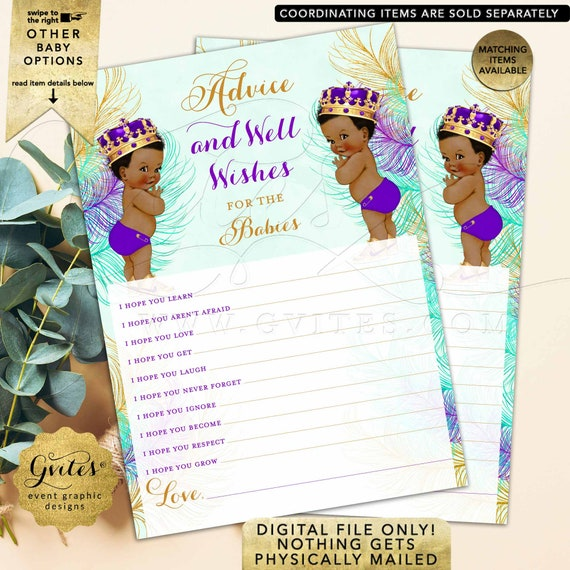 "Twins Advice Cards Baby Wishes Boys Baby Shower African American Little Prince Purple Eggplant Mint Green Gold. 5x7"" 2/Per Sheet."