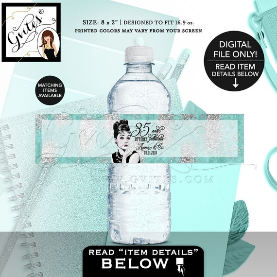 Audrey Hepburn Birthday Party Water Bottle Labels / Party Favors Wrappers Stickers Gifts / Turquoise Blue & Silver Printable Labels