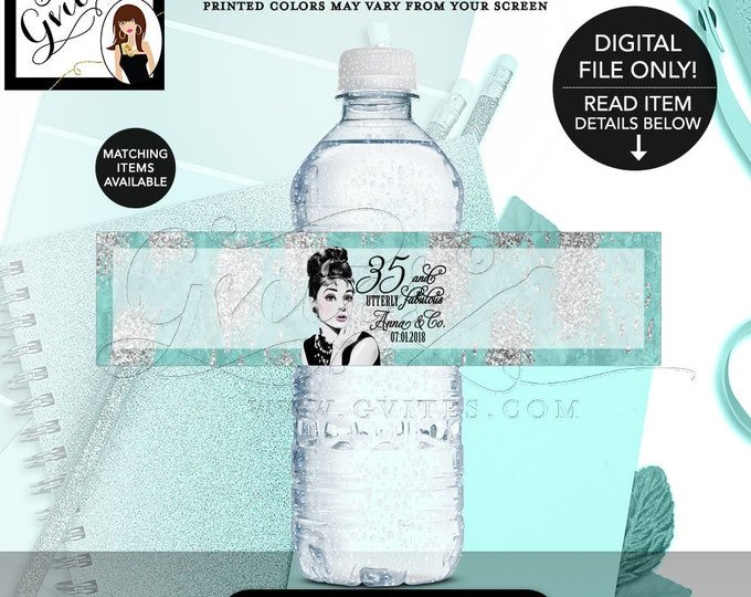 "Audrey Hepburn 35th Birthday Party, Water Bottle Labels Favors, Wrappers, Stickers Gifts, Decorations, Digital File Only {8x2"" 5 Per/Sheet}."