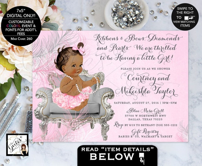 African american baby shower invitation ribbons bows etsy image 0 filmwisefo