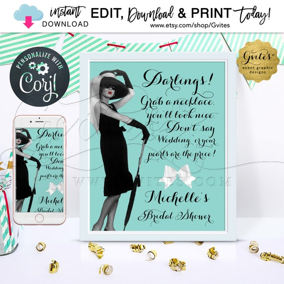 Breakfast at game sign/ bridal shower Audrey Hepburn PERSONALIZED Pearl Necklace game/8x10""