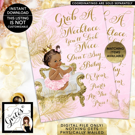 "INSTANT Download: Med/Brunette. Don't Say Baby Pearl Game Princess Baby Shower Vintage 5x7""  Shower Printables/African American CWCHS-104"