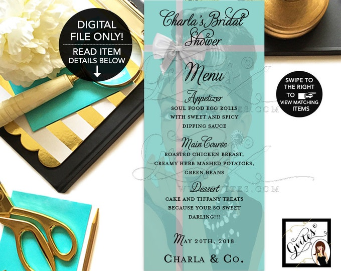 """Audrey Hepburn Inspired Menu Cards, Breakfast at Bridal and Co Blue and White Bow, Printable, Menus, Personalized, 4x9"""" DIGITAL. Gvites"""