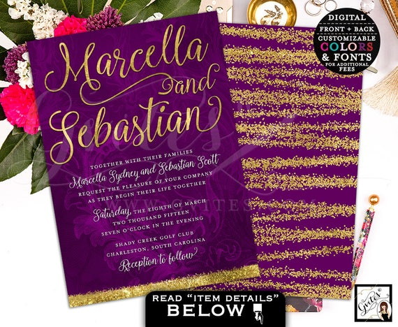 Purple Gold Watercolor Wedding Invites | Winter/Fall Theme | Double Sided 5x7""