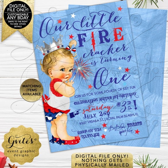 First birthday 4th of July invitations. GIRL patriotic birthday | our little firecracker is turning one | vintage red white & blue. Gvites