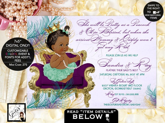 Purple and Gold Peacock Baby Shower Invitations