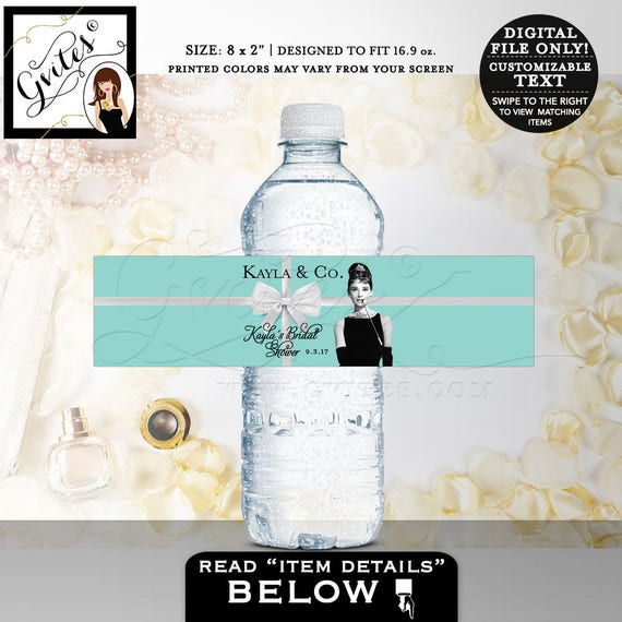 Water Bottle Labels | Breakfast Party Themed Party Favors | Audrey Hepburn Decorations | Printable JPG + PDF