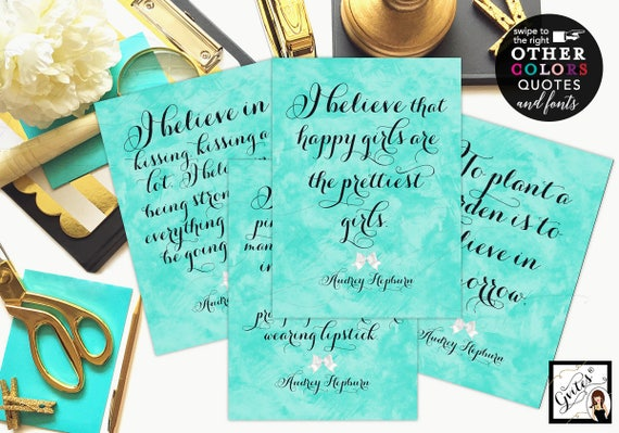 Breakfast at Audrey Hepburn Quotes Set of 4 - Bridal Shower Decorations/ breakfast at bridal signs CUSTOMIZABLE {4x6 or 5x7}