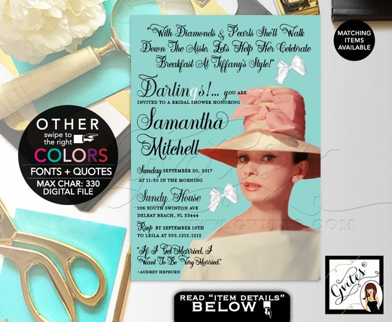 Audrey Breakfast Themed Bridal Shower Invitation / Pink Kentucky Derby Hat