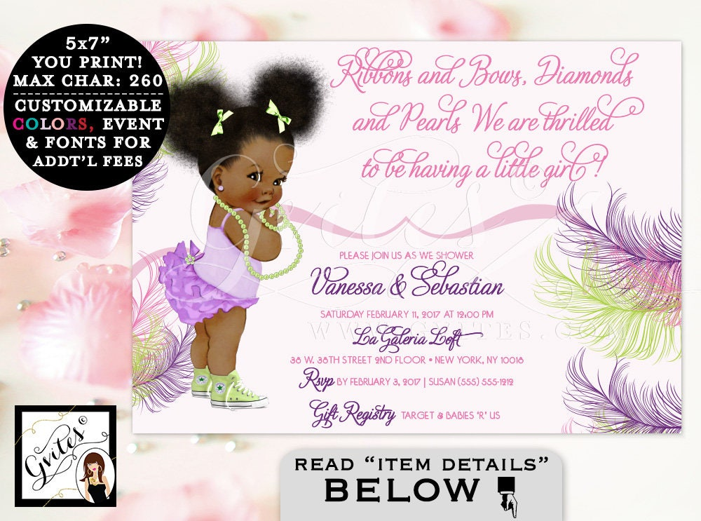 Pink purple and lime green baby shower invitation african american pink purple and lime green baby shower invitation african american girl ruffles diamonds and pearls afro puffs gvites filmwisefo