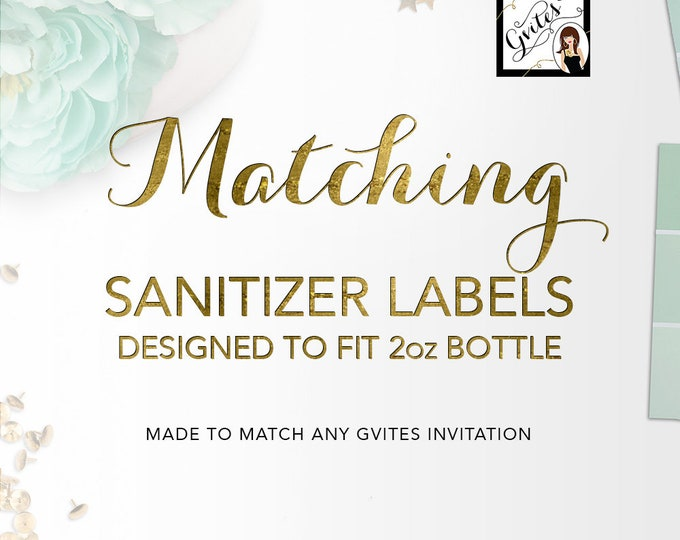 Matching Sanitizer Labels 2oz Bottle Add-on - To Coordinate with any Gvites invitation design.