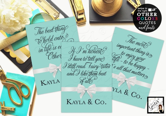 Bride and Co Signs Audrey Party printable wall art quote/ breakfast bridal shower signs/ famous quotes/ CUSTOMIZABLE {4x6 or 5x7} Set of 3