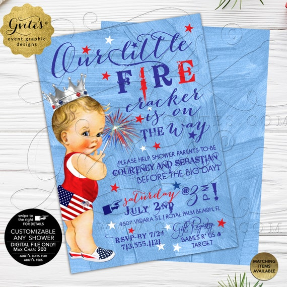 """4th of July Patriotic Baby Shower Invites/Our little fire cracker is on the way/Vintage Fourth Invites/Blue/White/Red/ 5x7"""" Double Sided"""