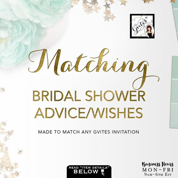 Matching Advice Card Well Wishes For Bridal Shower