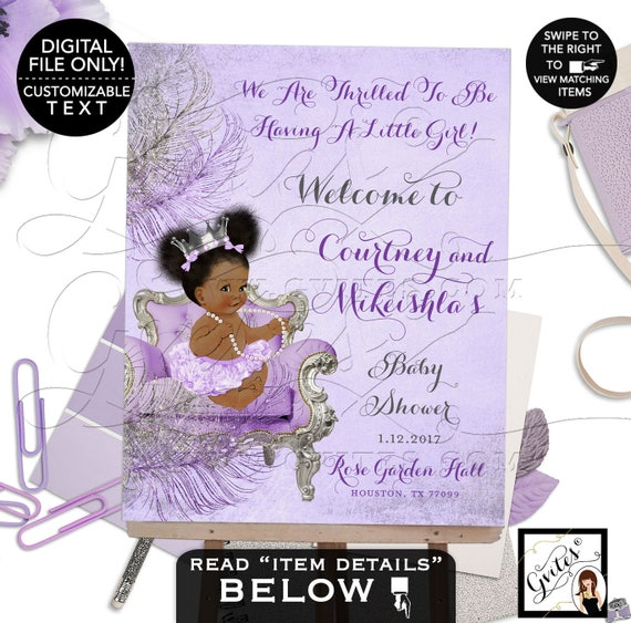 Lavender Purple Silver Baby Shower Welcome Sign African American | JPG + PDF Design: CWCHSP-103 By Gvites