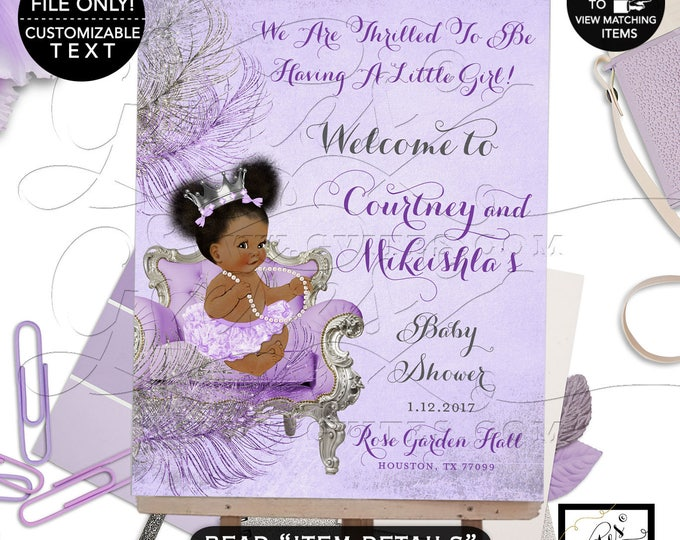 Lavender Purple & Silver Baby Shower Welcome Sign, African American Baby Girl Afro Puffs, Diamonds Pearls Princess Silver Crown.