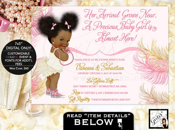 Pink Gold Afro Puffs Baby Girl Vintage Baby Shower Invitations