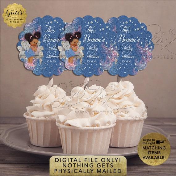 "Denim Diamonds Pink Blue Cupcake Toppers Baby Shower | 2.5x2.5""/9 Per Sheet {Avery® 08218} | Design: DDRBC-101"