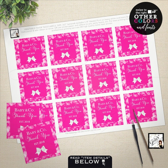 """Pink Baby Shower Stickers, Baby and Co Thank You Tags, Printable Party Favors Labels Decorations, Girl, 2x2"""" 12 Per Sheet"""