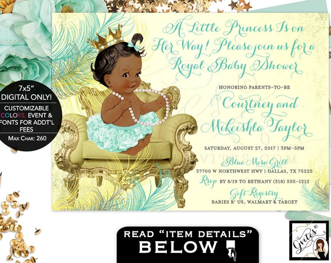 Mint and Gold Baby Shower Invitations, A little princess is on the way, African American invites, baby shower pearls, 7x5. Gvites