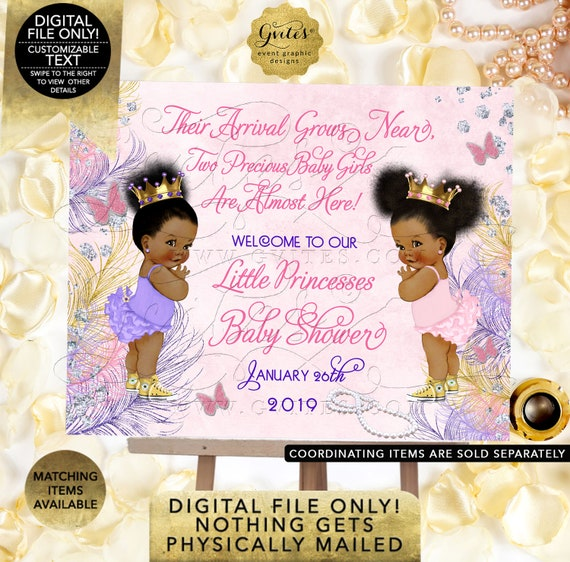 "Twins Welcome Sign, Baby Shower Diamonds Pearls Princess Themed. Pink, Gold, Purple, Lavender. Printable. Digital File Only! 7x5"" JPG + PDF"