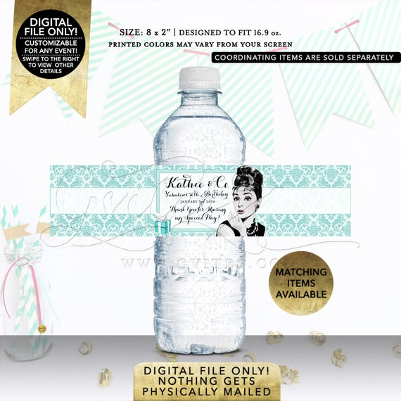 """30th Birthday Water Bottle Labels Fabulous Audrey Hepburn Vintage Clipart 