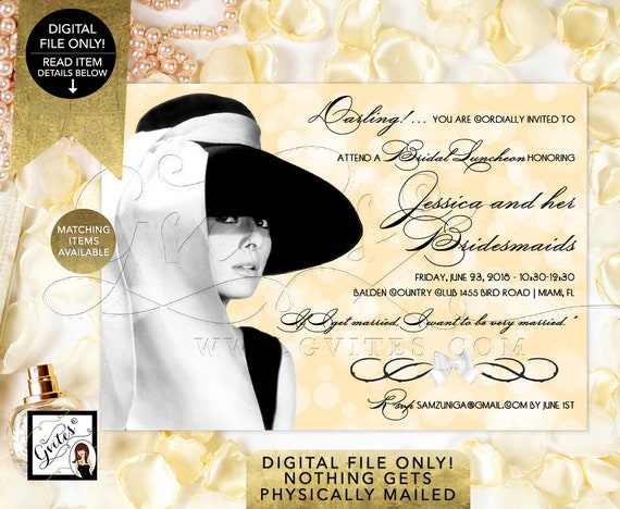 Bridal Luncheon Bridesmaid Invitations Audrey Hepburn Bridal Shower/ Gold Lace Black Hat Theme Party/ Vintage Wedding