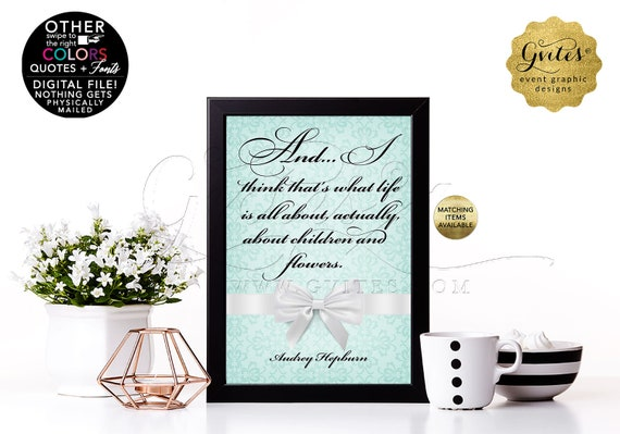 Bridal Shower Decoration Audrey Hepburn Quote Print Table Decor
