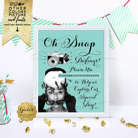 Wedding and Bridal Shower/ Birthday/ Sweet 16/ Breakfast at/ Hashtag Sign/ Audrey Hepburn Party Supplies Printable/ Digital/ DIY/ 8x10""