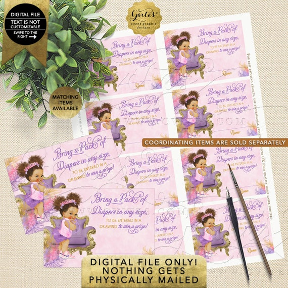 Diaper Raffle Pink Purple Lavender Gold Baby Shower | Med/Puffs Curly African American Princess | Instant Download | Design: TIACH-118