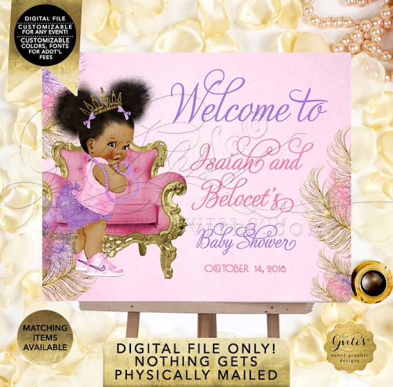 Pink Purple & Gold Welcome Signs Baby Shower/ Afro puffs/ ethnic princess printable poster sign. DIY/ Digital File.