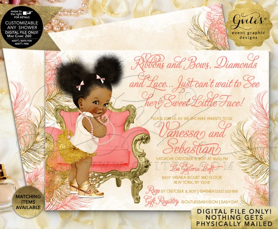 Afro Puffs Peach Coral & Gold Baby Shower | Printable JPG + PDF | By Gvites