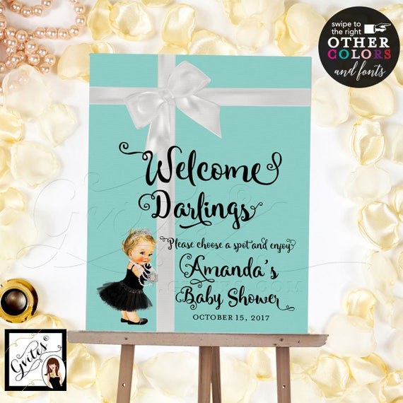 Welcome Signs Baby Shower Baby and Co poster/ banner/ signs. Breakfast at signs/ customizable text and colors {Realistic Satin Ribbon}