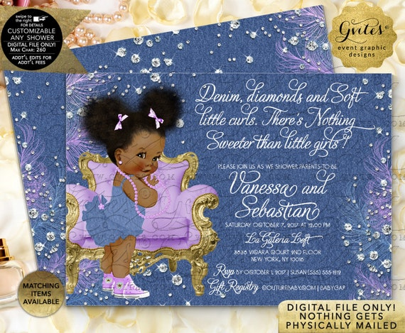 Denim Diamonds and Soft Little Curls Lavender Gold Navy Blue Baby Shower Printable Invitation. Afro Puffs Baby Girl. Digital File Only!