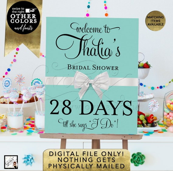 Welcome Countdown Bridal Shower Sign/ Bride and Co/ Printable/ Digital. Custom Poster signs/ breakfast at themed. {Name & Days ONLY}