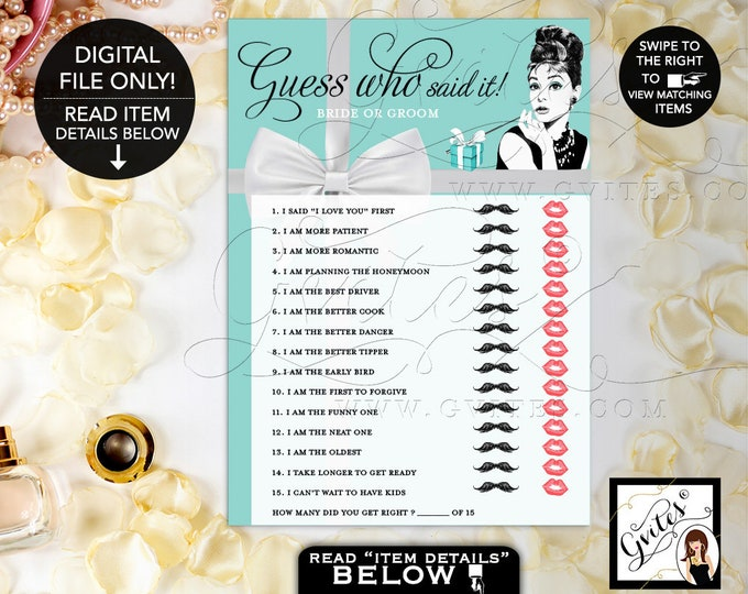 "Guess Who Bride or Groom, Guess Who, Audrey Hepburn, Breakfast at and Co themed Bridal Shower Games, DIGITAL 5x7"" 2 Per Sheet. Gvites"