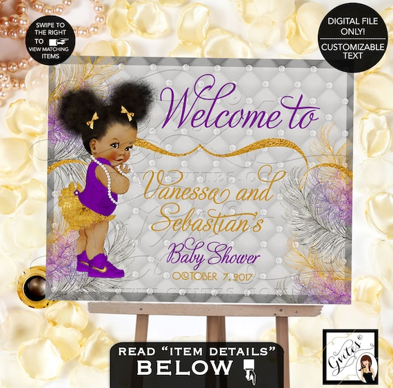Baby Shower Welcome Sign / Gold & Purple Silver Princess Baby / Vintage African American ethnic Baby Afro Puffs Bun High Tops