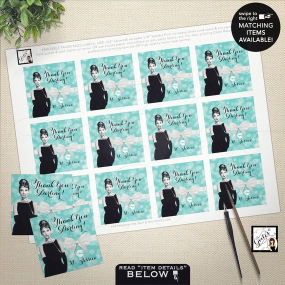 """Audrey Hepburn party supplies/ tags/ stickers/ party favors breakfast at bridal blue favor thank you tags 2x2"""" 12/ Per Sheet"""