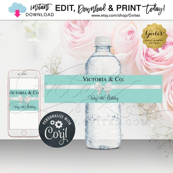 Name & Co Water Bottle Labels 18th Birthday Labels Stickers Breakfast at themed. Instant Download