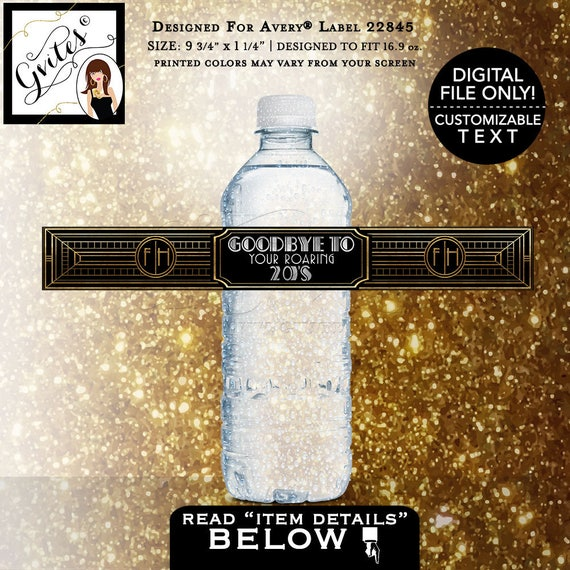"""Roaring 20's party water bottle labels/ great gatsby printable stickers party favors/ 9.75x1.25""""/ 5 Per Sheet {Designed Avery® 22845}"""