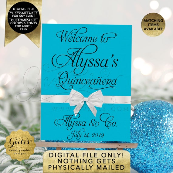 Quinceanera Welcome Sign Turquoise/Aqua Blue/Teal/Green/Pink Printable Easel Poster Entrance Decorations. DIY/JPG/PDF