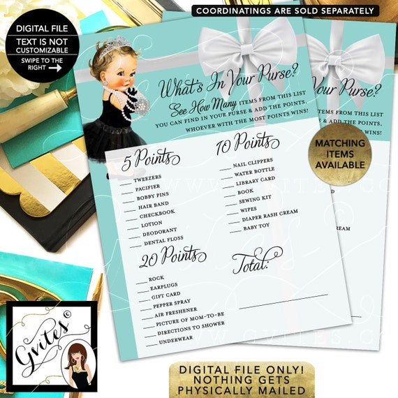 """What's in your purse baby shower game. Printable cards. 5x7""""/2 Per Sheet {INSTANT DOWNLOAD/Baby: Light Brunette}"""