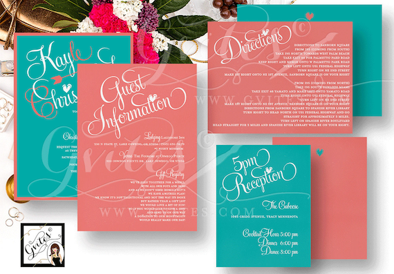 Coral Wedding Invitations/ Coral and Blue Double Sided Guest Information Wedding Reception Rehearsal Dinner Directions PRINTABLE